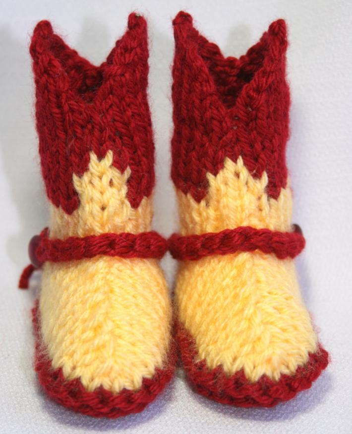 Baby Cowboy Booties in Red and Gold Washington Redskins Colors for Kimberly