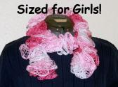 Pink Ruffle Scarf Sized for Girls and Preteens