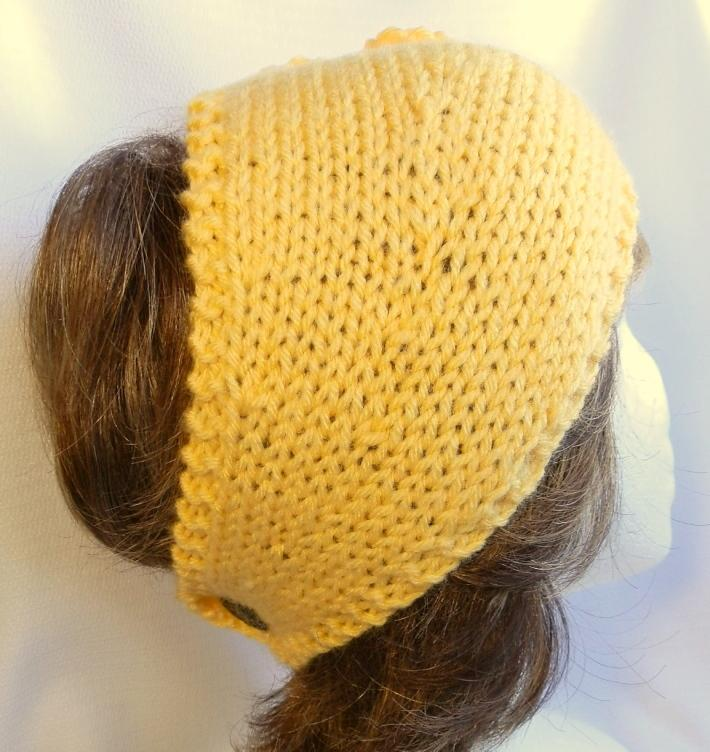 Ladies Headband with Flower Hand Knit in Golden Yellow