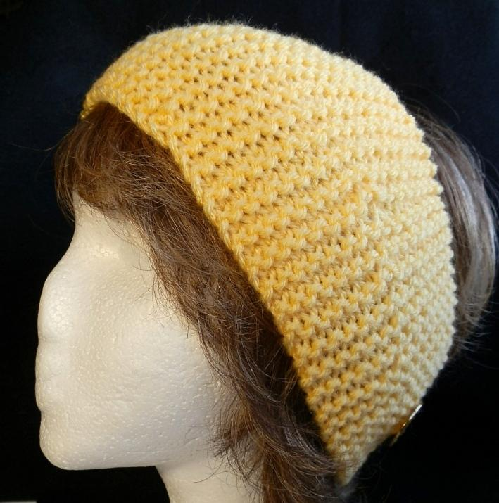 Hand Knit Ladies Headband in Sunny Yellow