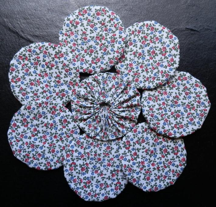 Fabric Yoyos in Pink and Blue Floral Print