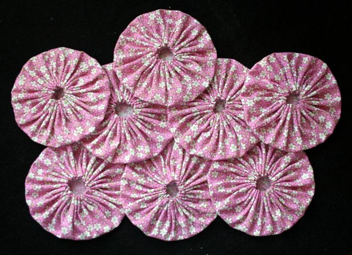 Fabric Yoyos in Hot Pink with White Flowers
