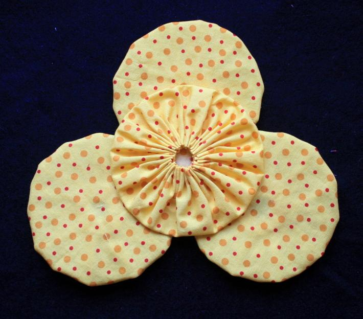 Fabric Yoyo in Bright Yellow with Spots