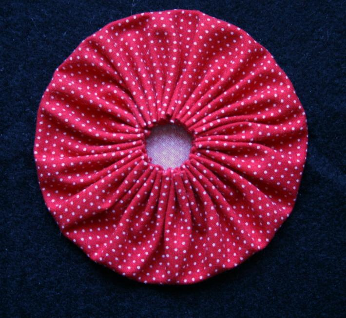 Red Dotted Swiss Fabric Yoyos