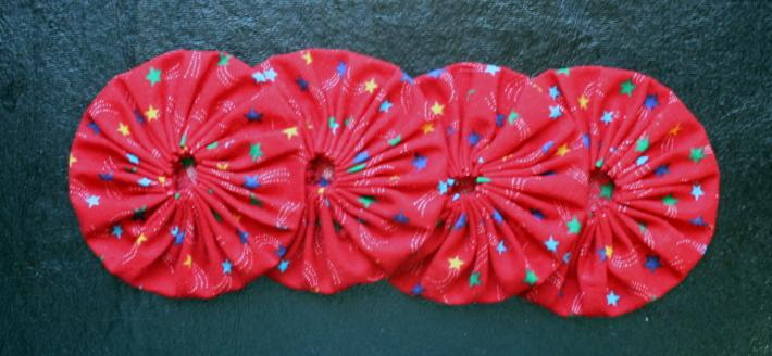 Fabric Yoyos Red with Stars