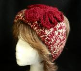 Ladies Headband Hand Knit in Cranberry and Cream with Knit Flower