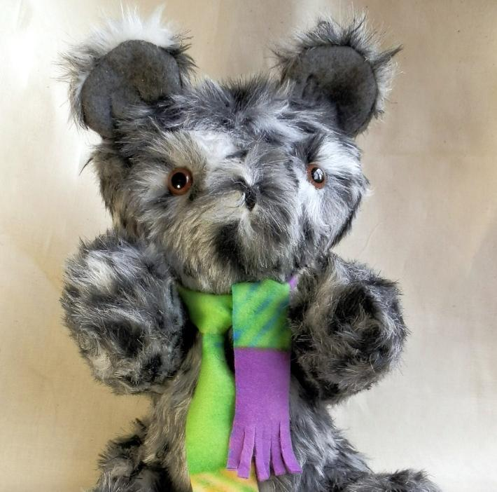 Handmade Brindle Black White and Gray Toy Teddy Bear with Moving Arms and Legs