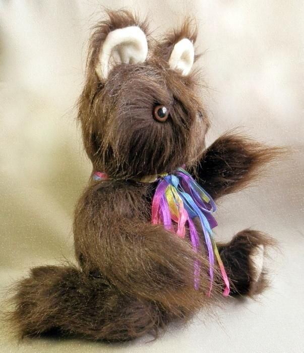 Chocolate Brown Long Hair Handmade Teddy Bear with Moving Arms and Legs