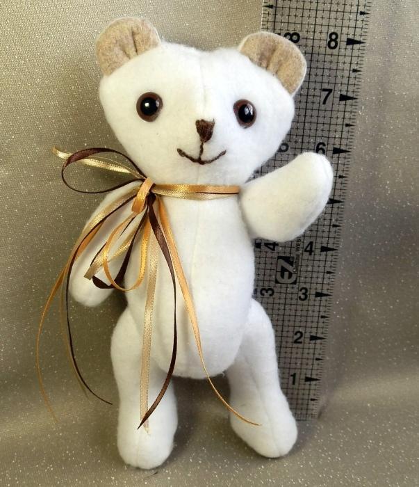 Tiny Handmade White Teddy Bear Ready to be Loved