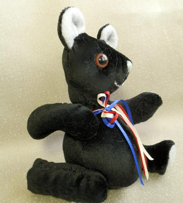 Black Handmade Tiny Toy Teddy Bear with Moving Arms and Legs