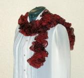 Ruffle Scarf Handmade in Rich Ruby Reds