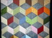 Hand Quilted Tumbling Blocks Quilt