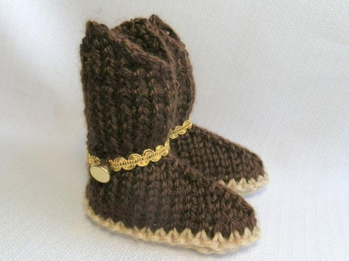 Hand Knit Cowboy Baby Booties in Chocolate Brown
