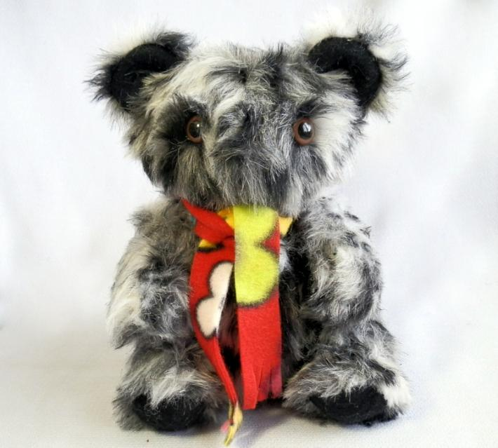 Handmade Black and White and Gray Toy Teddy Bear with Moving Arms and Legs