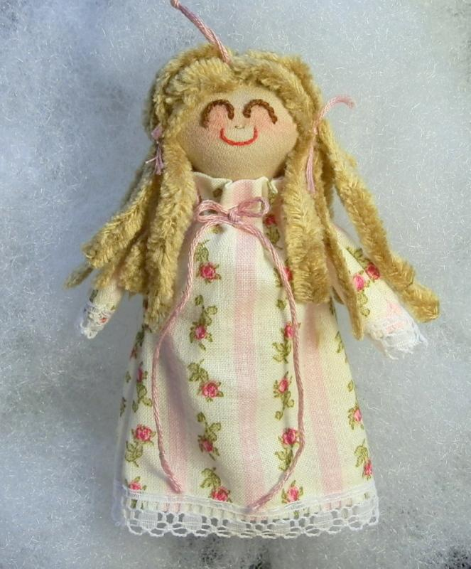 Miniature Rag Doll Handmade Blonde in Pink and White
