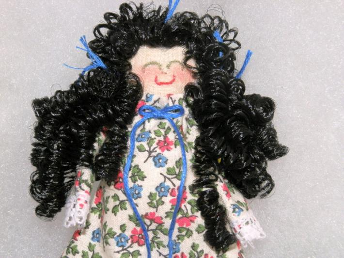 Rag Doll Miniature Handmade Black Hair in Red and Blue Floral Print