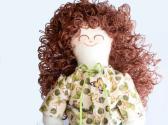 Handmade Rag Doll Brunette in Green and Peach