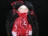 Handmade Rag Doll with Black Hair in Red Bandana Print Dress