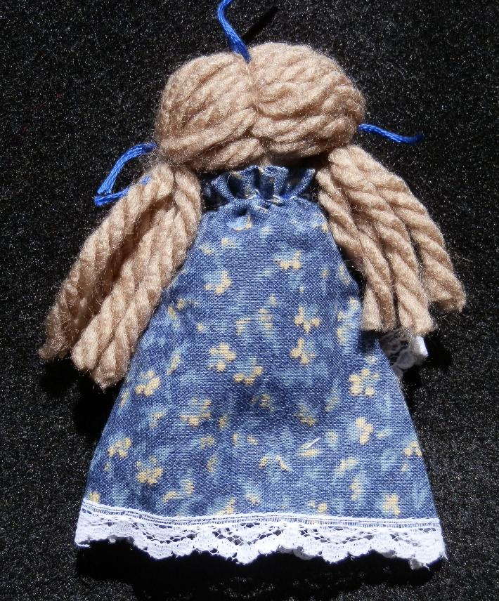 Hand Crafted Rag Doll Blonde in Navy Blue Print