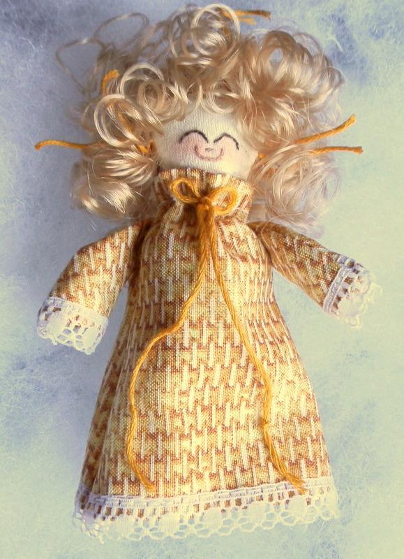 Rag Doll Miniature Handmade Blonde in Golden Yellow