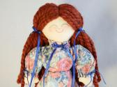 Handmade Toy Rag Doll Redhead in Red and Blue Floral Print