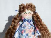 Handmade Miniature Rag Doll Brunette in Blue Floral Print