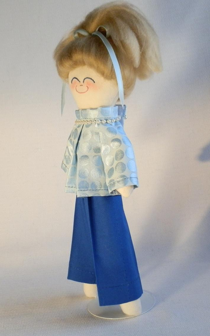 Handmade Rag Doll Toy with Blonde Hair and Blue Eyes