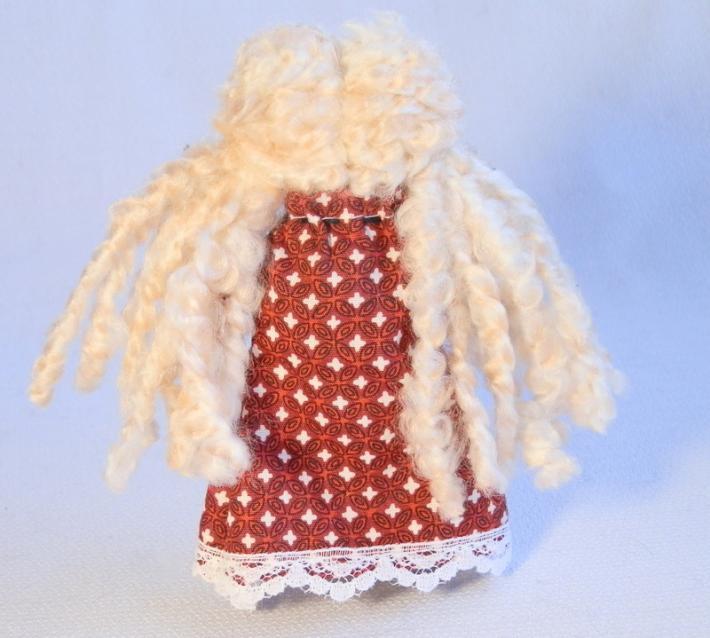 Tiny Handmade Rag Doll Blonde in Deep Red Print