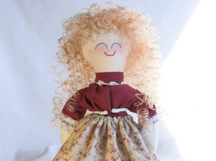 Handmade Collectible Toy Rag Doll Blonde Curly Hair