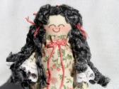 Tiny Handmade Toy Rag Doll with Black Gray Wavy Hair