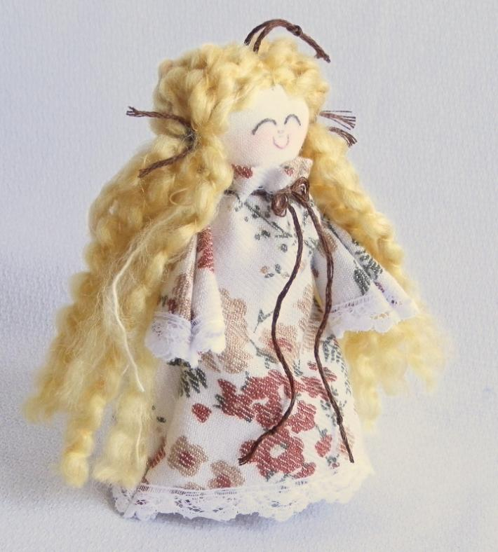 Tiny Rag Doll Toy or Ornament Blonde in Floral Print Handmade