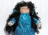 Tiny Handmade Toy Collectible Rag Doll Ornament Black Curly Hair in Turquoise
