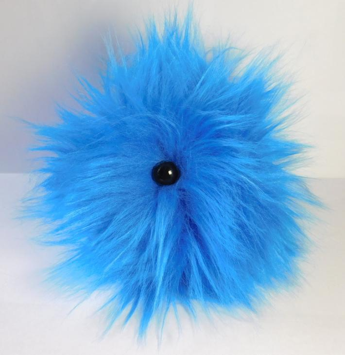 Bright Blue Long Hair FurPet© Loves to Play Catch