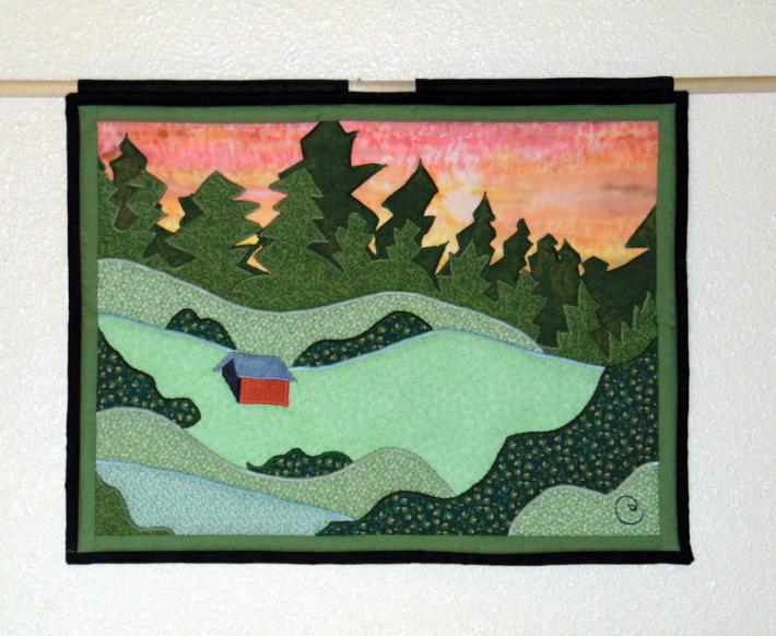 Original Design Hand Quilted Wall Hanging Meadow Barn Forest