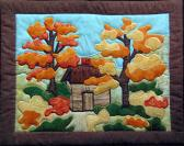 Original Design Hand Quilted Wall Hanging Log Cabin Autumn Trees