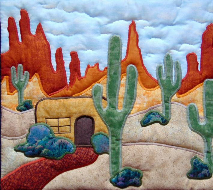 Original Design Hand Quilted Wall Hanging Desert Adobe House Cactus