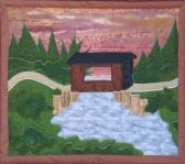 Hand Quilted Original Design Wall Hanging Covered Bridge