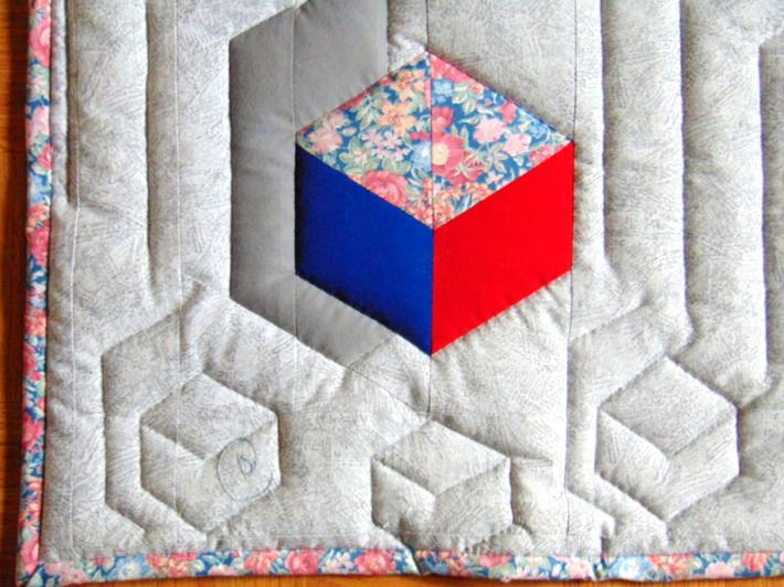 Optical Illusion Handmade Hand Quilted Lap or Baby Quilt or Wall Hanging