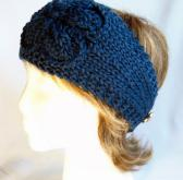 Navy Blue Hand Knit Ladies Adjustable Headband with Knit Flower