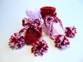 Preemie Size Two Tone Red and Pink Hand Knit Baby Booties