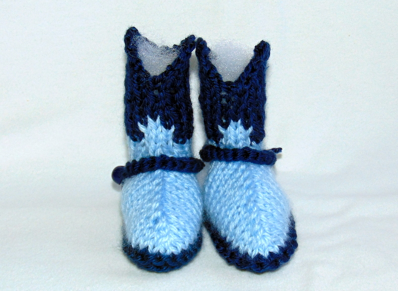 Knitting Pattern Baby Cowboy Booties : Navy and Baby Blue Hand Knit Cowboy Booties on Handmade ...