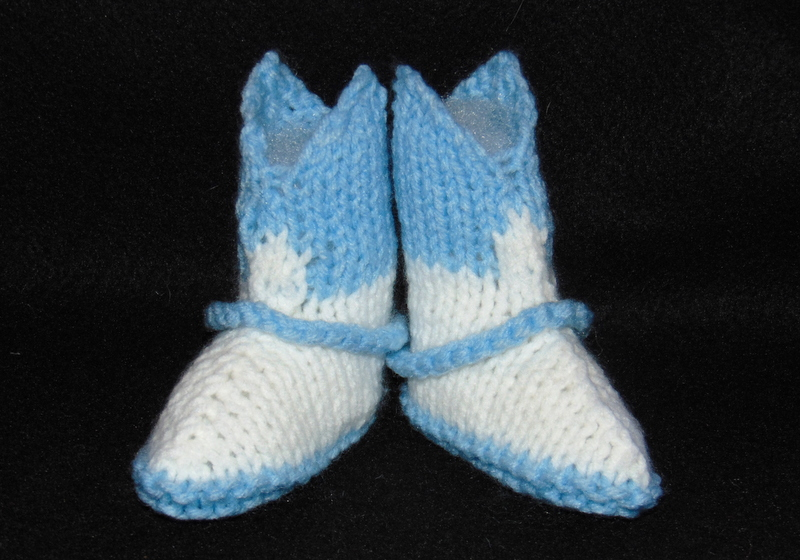 Knitting Pattern Baby Cowboy Booties : Cowboy Booties Hand Knit in Traditional Baby Blue and ...