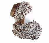 Hand Knit Tweed Infinity Scarf and Matching Headband Set in Brown Tan and Cream