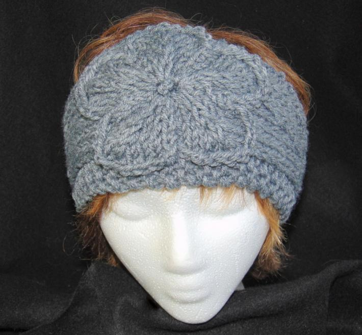 Heather Gray Hand Knit Ladies Adjustable Headband with ...