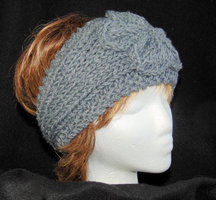 Heather Gray Hand Knit Ladies Adjustable Headband with ...