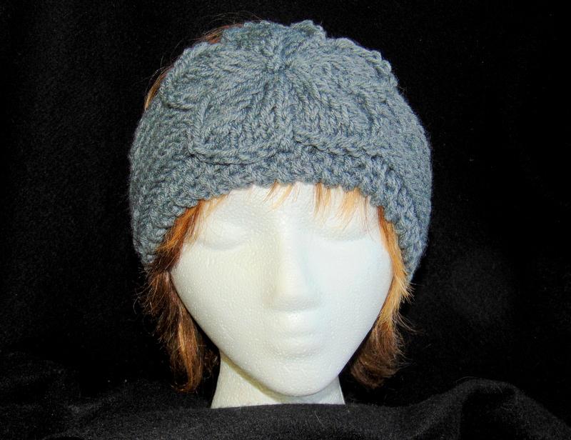 Knitting Pattern Adjustable Headband : Heather Gray Hand Knit Ladies Adjustable Headband with ...