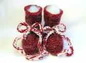Unique Fuzzy Mohair Blend Burgundy Baby Booties