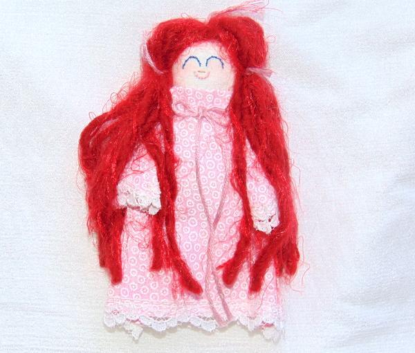 Handmade Miniature Rag Doll Redhead in Pink