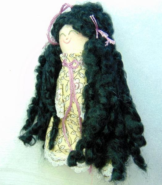 Miniature Handmade Rag Doll with Black Hair and Green Eyes