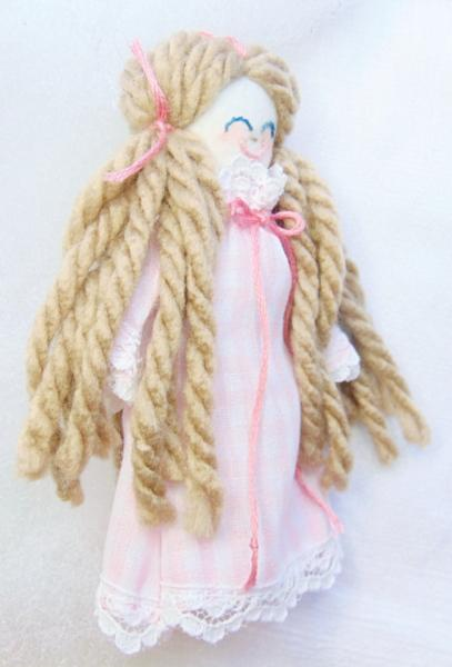 Handmade Miniature Rag Doll Wheat Blond with Blue Eyes in Pink Gingham